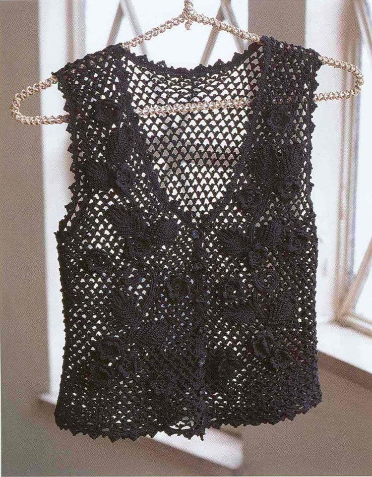 Patrones para Crochet: Chaleco Negro Calado Patron | Crochet 4 ...