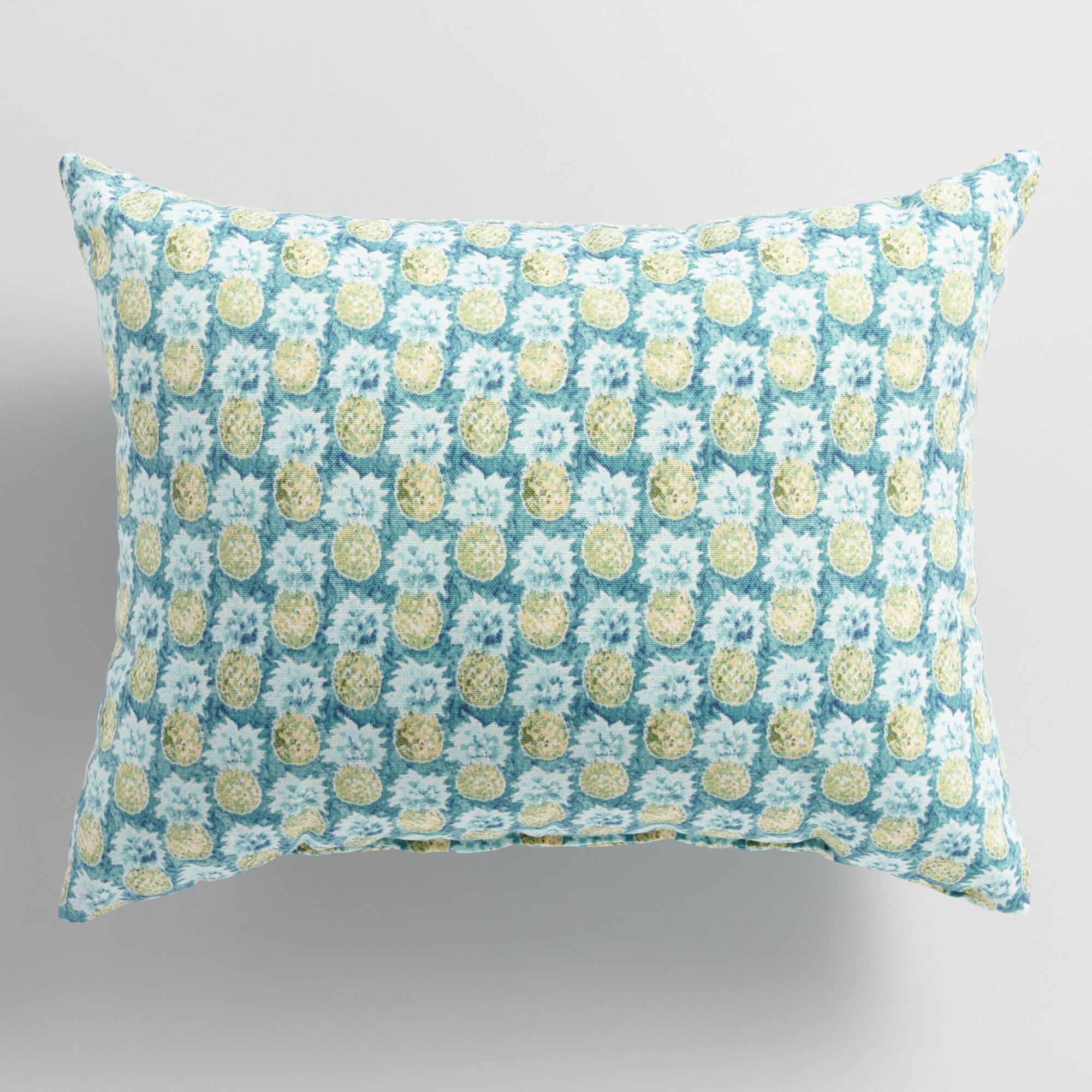 Teal Paloma Pineapple Outdoor Lumbar Pillow Pillows Decorative