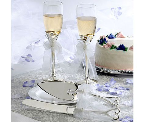 Silver Heart Toasting Glasses And Server Set