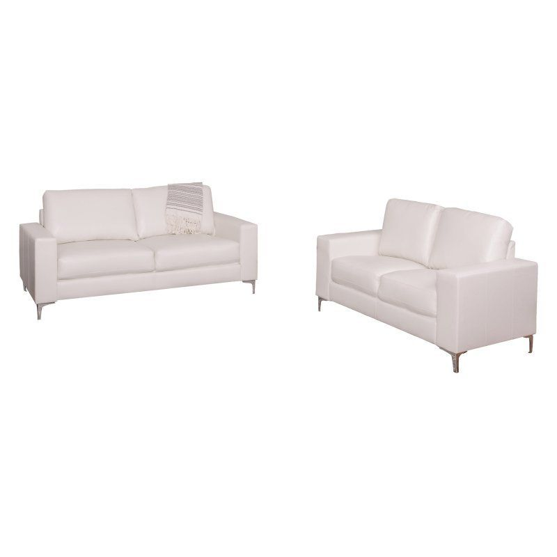 CorLiving Cory 2 Piece Contemporary Bonded Leather Sofa Set White    LZY 411 Z2
