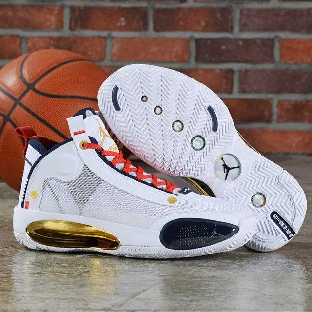 Nike Air Jordan 34 XXXIV White Gold Red Men's Basketball Shoes ...