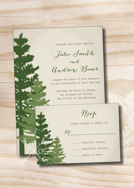 Rustic Pine Tree Wedding Invitation And Response Card