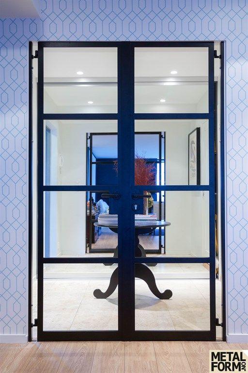 Metal door with glass