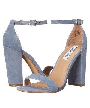 Blue suede heels, Ankle strap heels