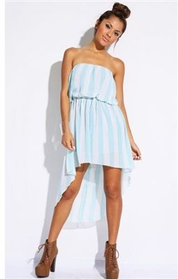 Chiffon High Low Dress for juniors  Blue and white striped high low strapless dress