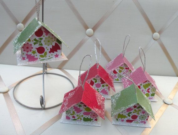 6 Holiday Patterned Paper House Ornament by jleigh on Etsy, $16.00