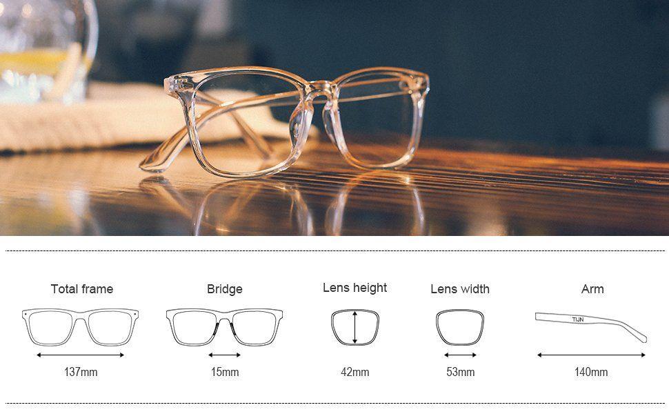 5619a2f564 Amazon.com  TIJN Unisex Wayfarer Non-prescription Glasses Frame Clear Lens  Eyeglasses (A