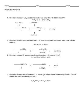 Using Mole Ratios Stoichiometry Worksheet  Mole Worksheets And