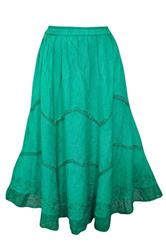 27f8a3e751 Women's Maxi Skirt Green Embroidered Tiered Bohemian Skir... https://www