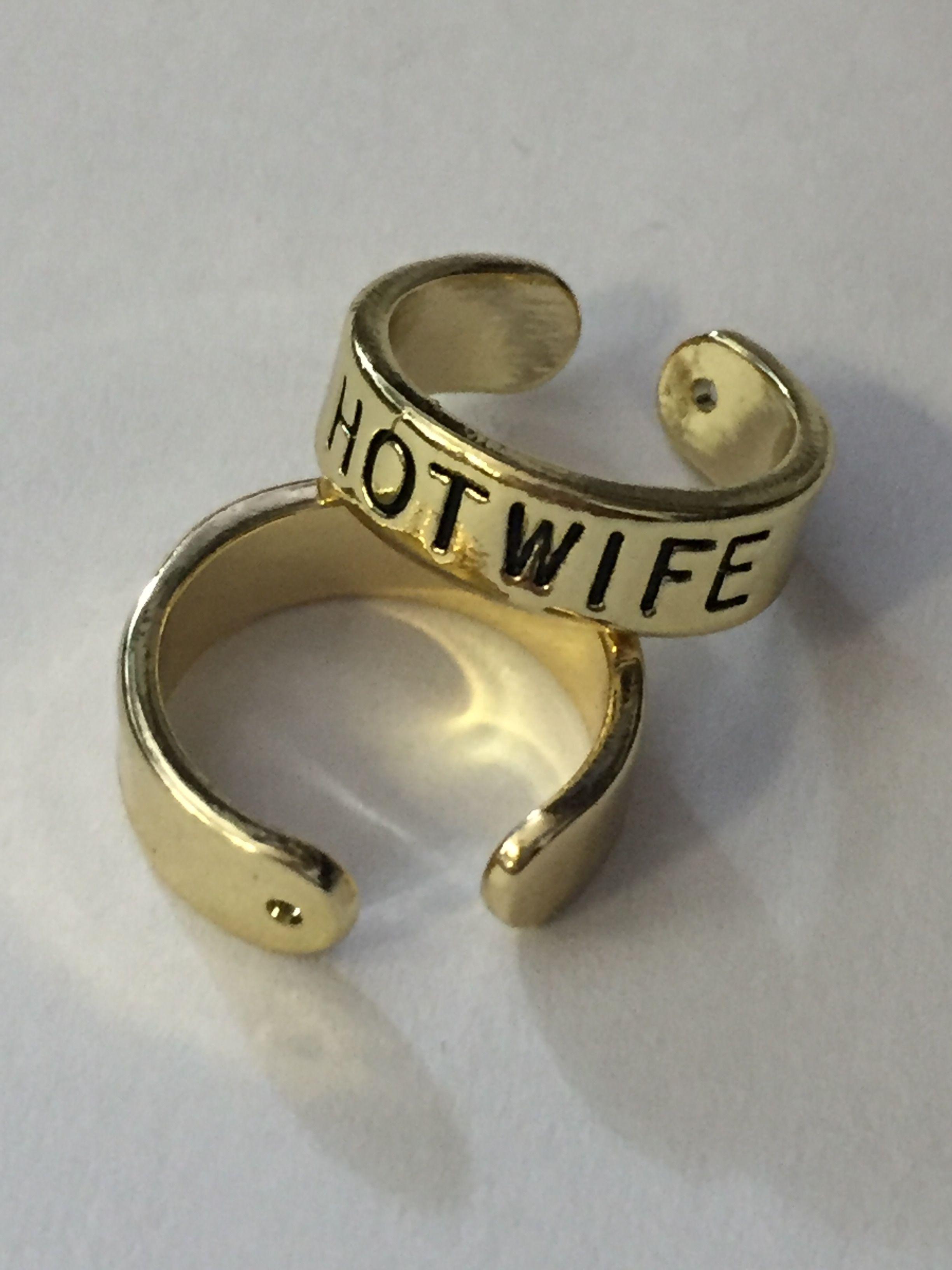 Gold Slut Whore BBC Hotwife or QOS Toe Ring Swinger Jewelry