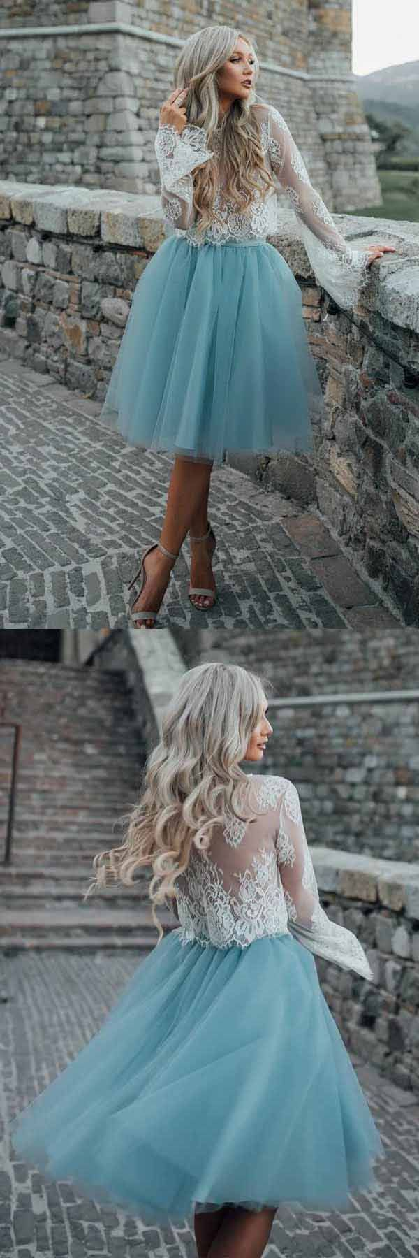Two piece tulle see through long sleeve lace homecoming dress pd