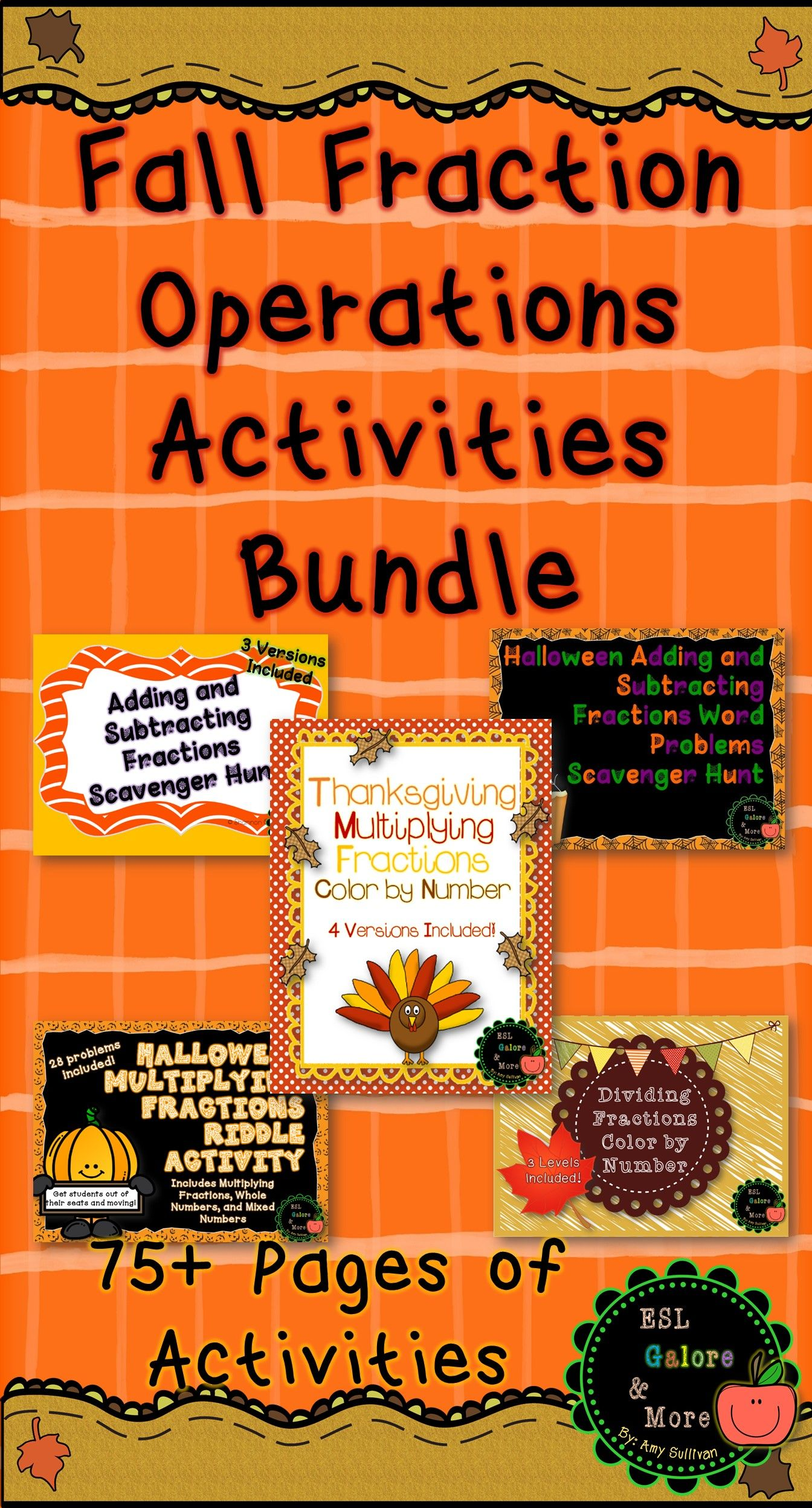 Fall Fraction Operations Activities Bundle