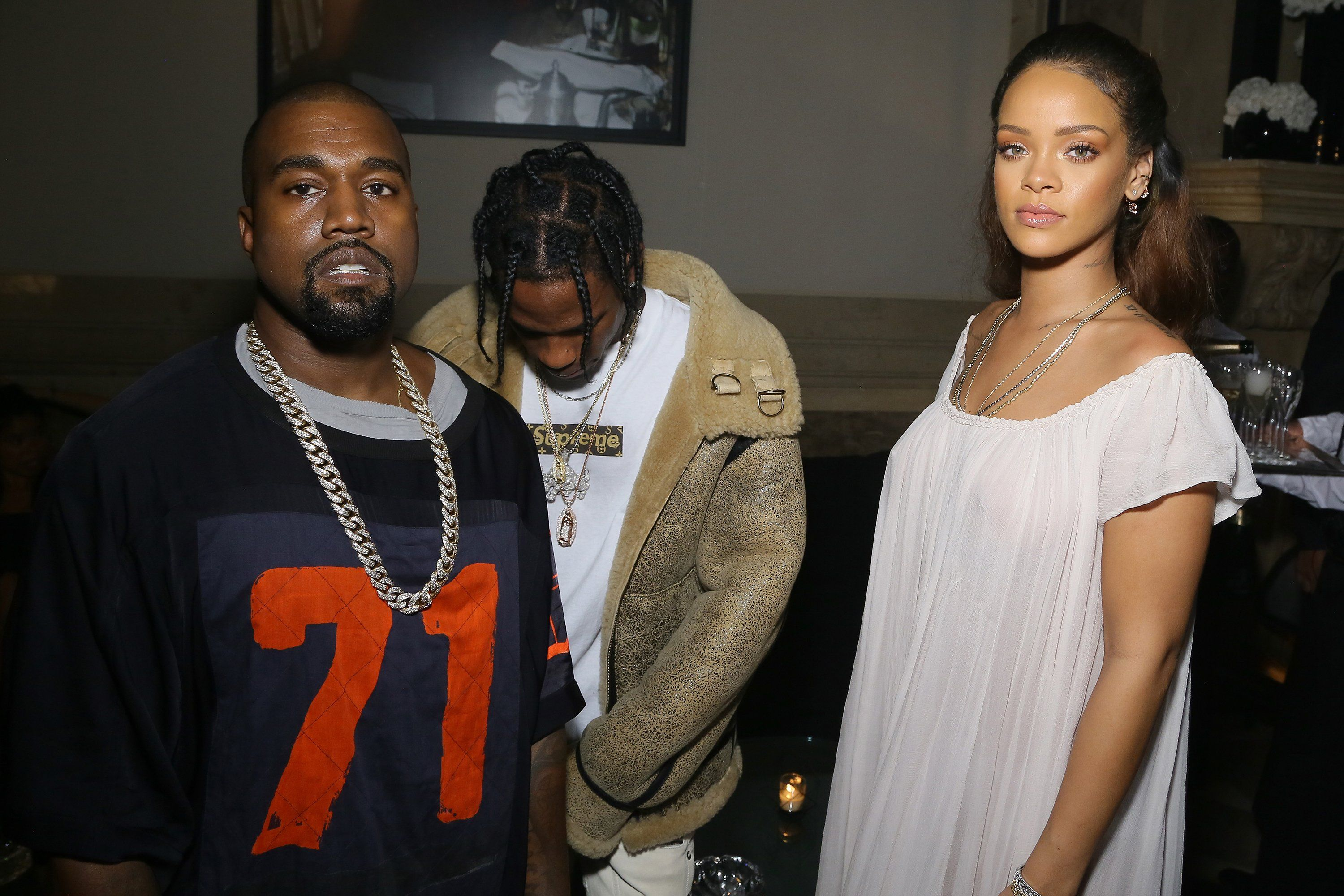 Kanye West, Travis Scott, and Rihanna at Vogue's 95th Anniversary Party in Paris, October 2015.