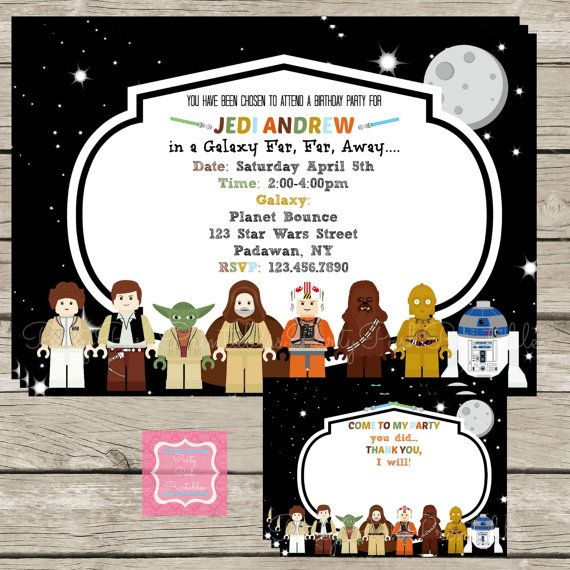 Lego Star Wars Invitations Thank Yous Cards Printables Custom Personalized Party Set On Etsy 998