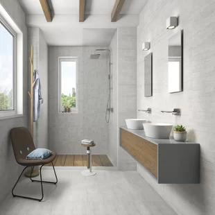 Madrid Ceramics Lifestone 12 X 24 Porcelain Field Tile Wayfair Black And White Tiles Bathroom White Bathroom Tiles House Bathroom Designs