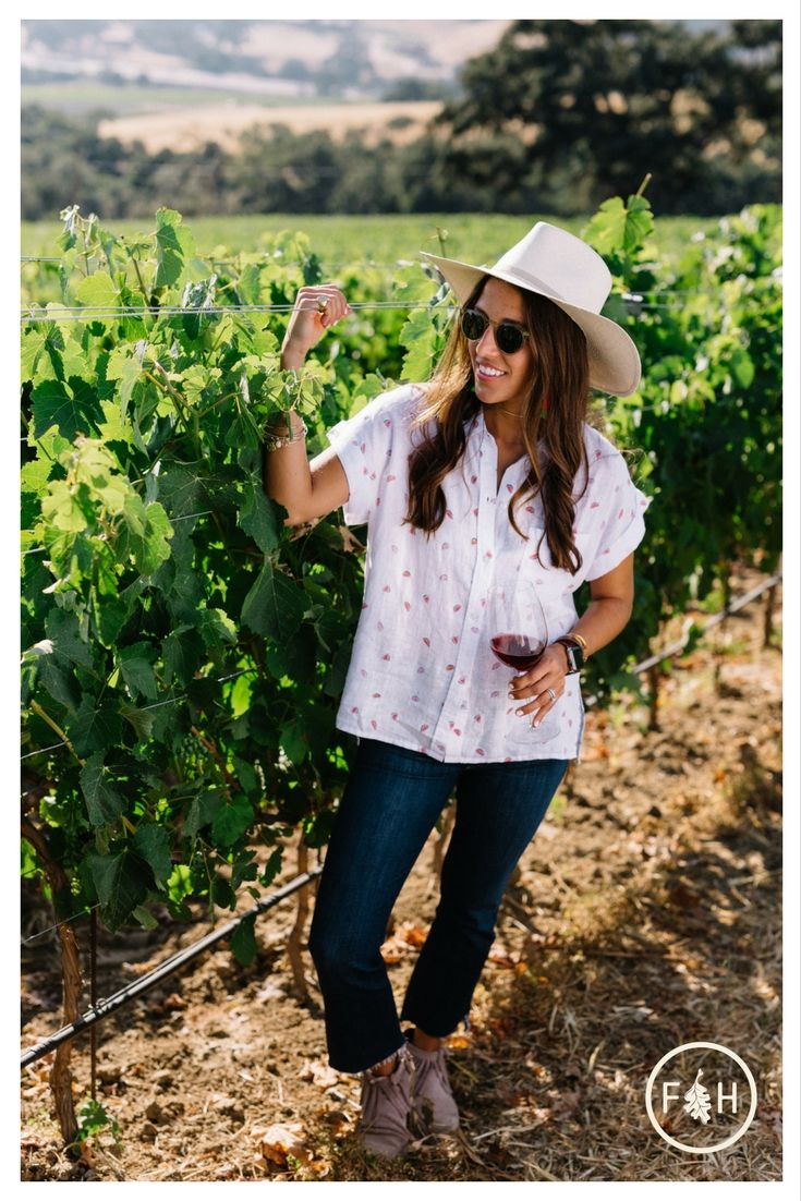 Wine Tasting Attire For Vineyard Estate Tasting Room Or Winery Tours Perfect Outfit And Hat For Wine Wine Tasting Outfit Wine Country Outfit Winery Outfits