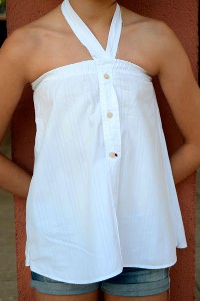 Cómo hacer camisa de niña a partir de camisa de hombre reciclada  641915c704724