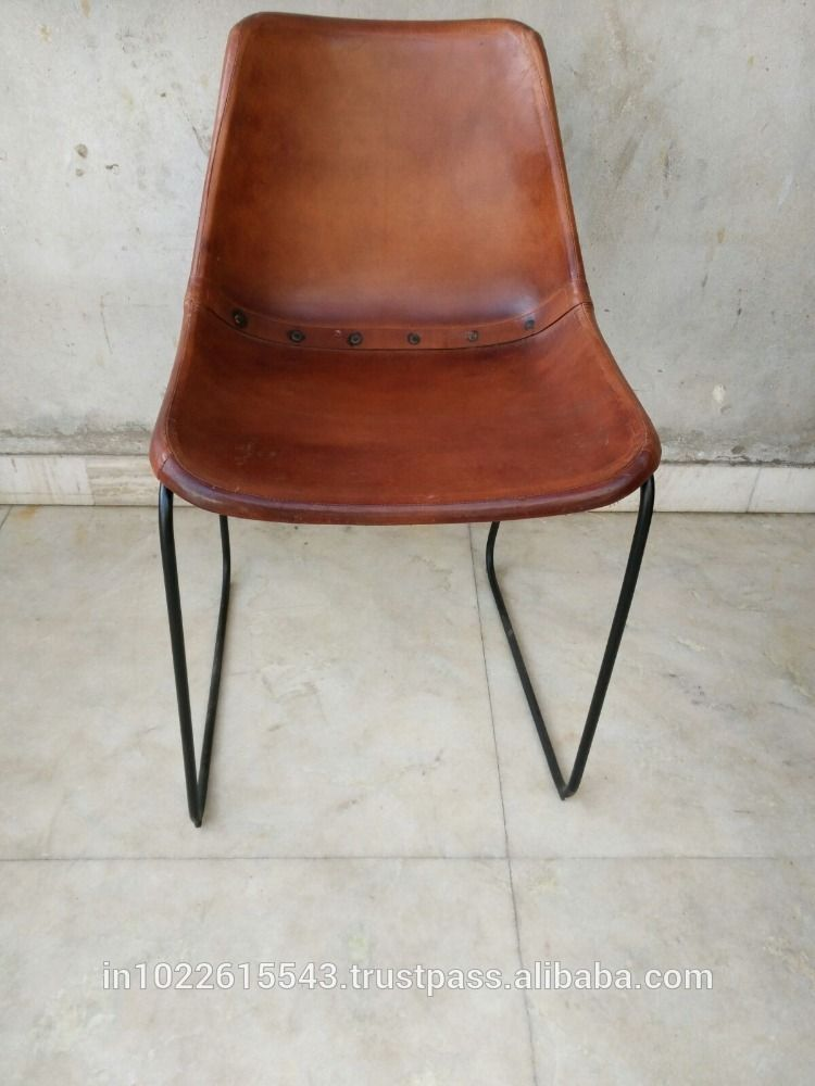 Giron Iron U0026 Leather Dining Chair, Industrial Leather Metal Chair