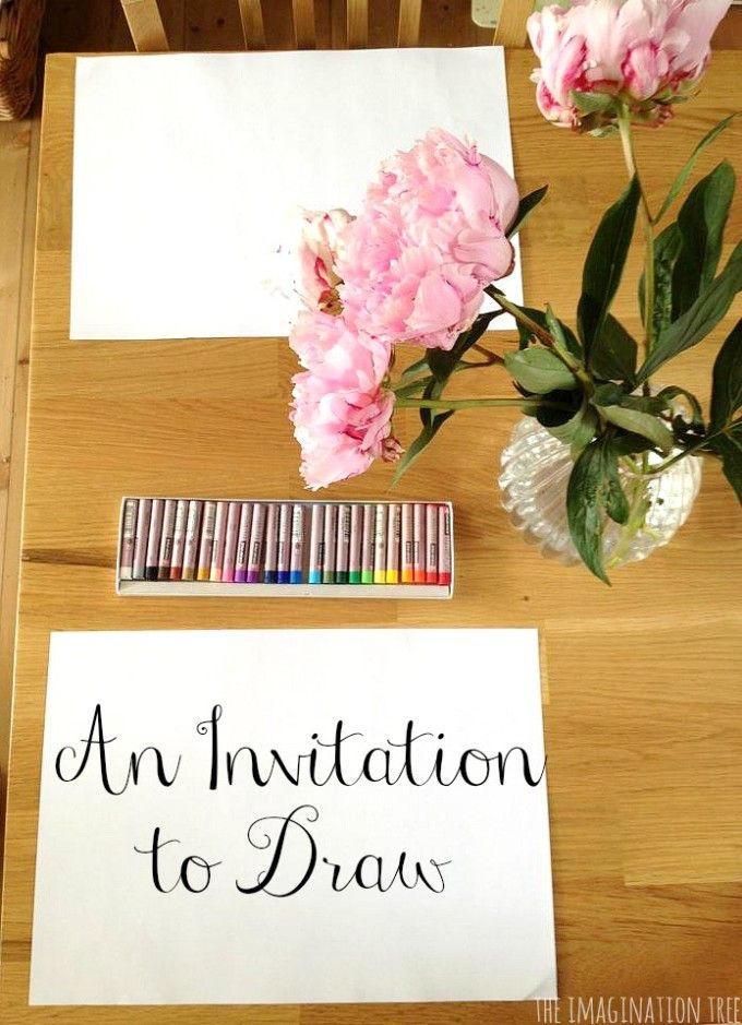 Invitations to draw with the imagination tree pinterest art invitations to draw create simple and inviting invitations to draw for children by setting up a still life with flowers and accessible art materials to stopboris Gallery