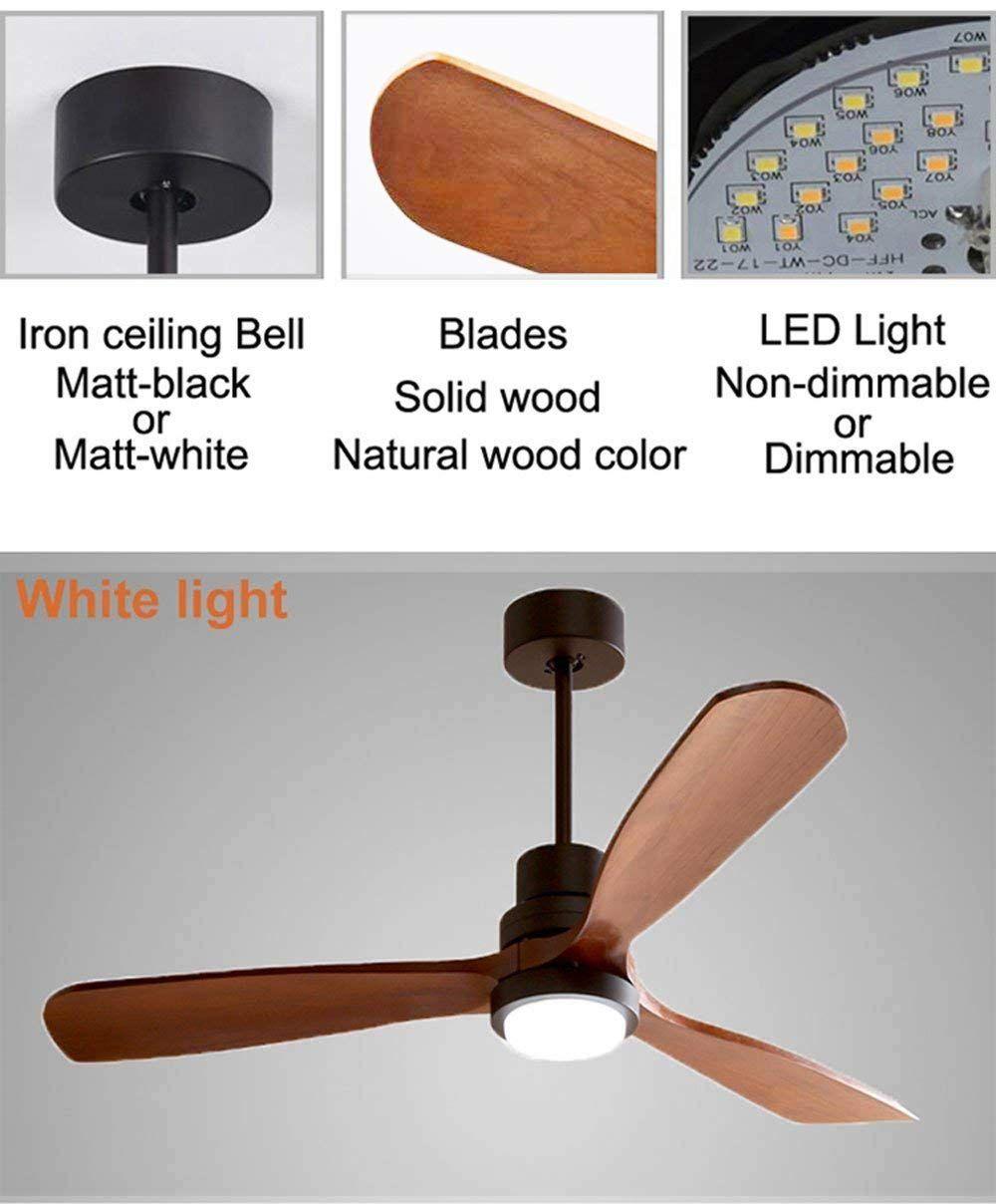 Yikui 52 Zoll Deckenventilator Licht Home Abs Holz Blatt