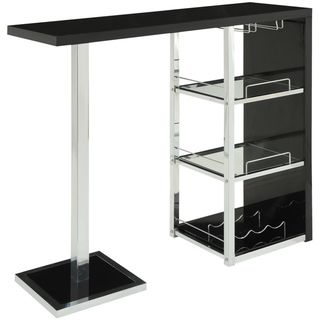Serve Your Guests In Style With This Glossy Chrome Bar Table That Has Every  Bar Amenity You Could Possibly Need. A Bottom Wine Rack Combines With Three  ...