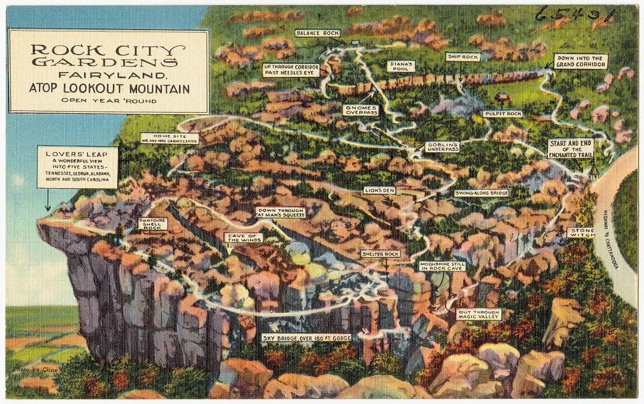 Old Postcard Map Of Rock City Gardens Fairyland City Garden City Lookout Mountain