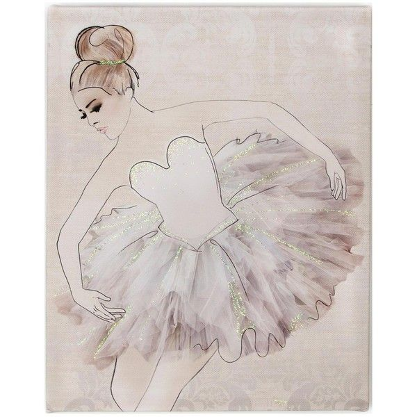 Graham & Brown Classic Ballerina Canvas ($26) ❤ liked on Polyvore featuring home, home decor, wall art, ballet wall art, canvas home decor, ballerina wall art, glitter wall art and textured wall art