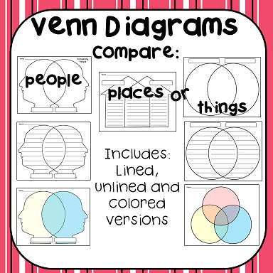 Variety of Venn Diagrams- Lined, unlined and colored version.