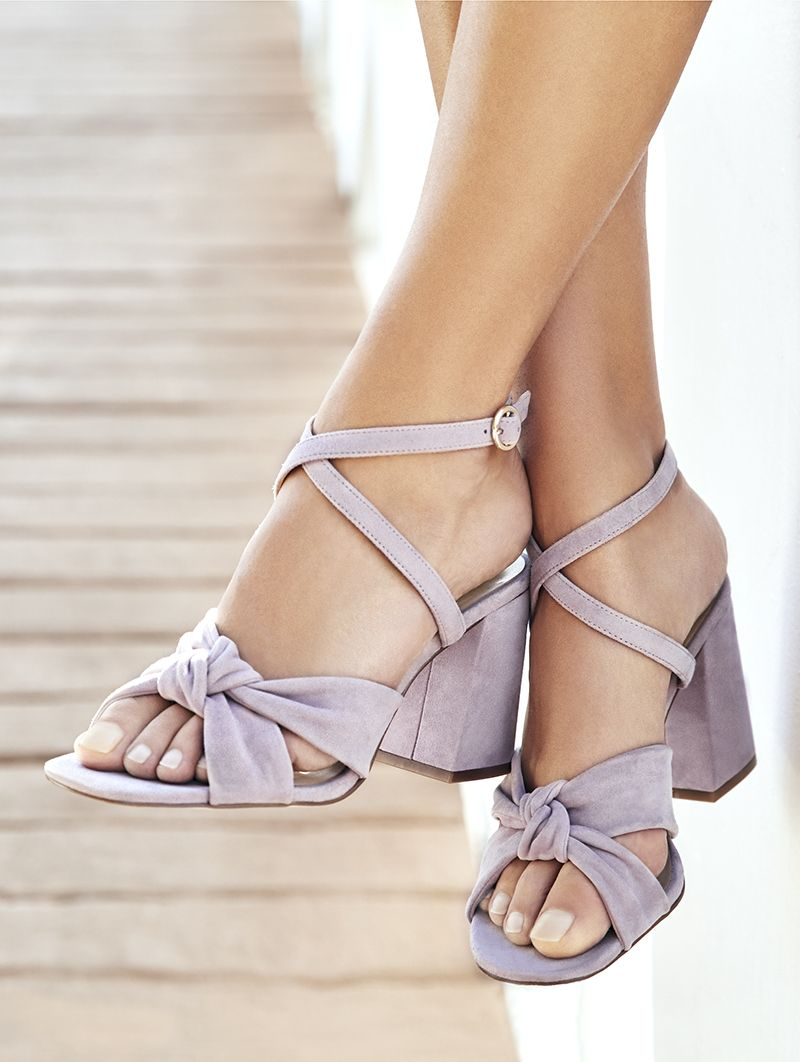 32f28163c75 Lavender sandal with knotted textures and a flared heel