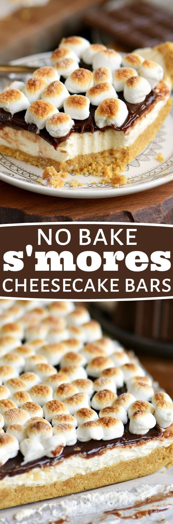 easy No Bake S'mores Cheesecake Bars are all you could ask for in a summer treat! Loaded with s'mores flavor without the fire OR baking! Just perfect for those hot summer months! // Mom On Timeout