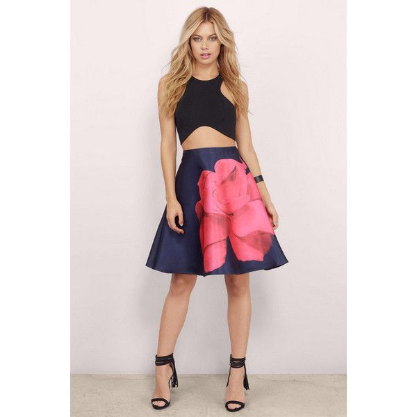 L'atiste Fleeting Love Skater Skirt ($60) ❤ liked on Polyvore featuring skirts, blue multi, pink skater skirt, flared skirt, floral circle skirt, skater skirt and pink skirt