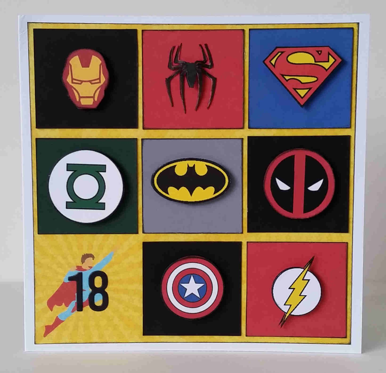 Boys or Mens Superhero Squares Logo Birthday Card Iron Man