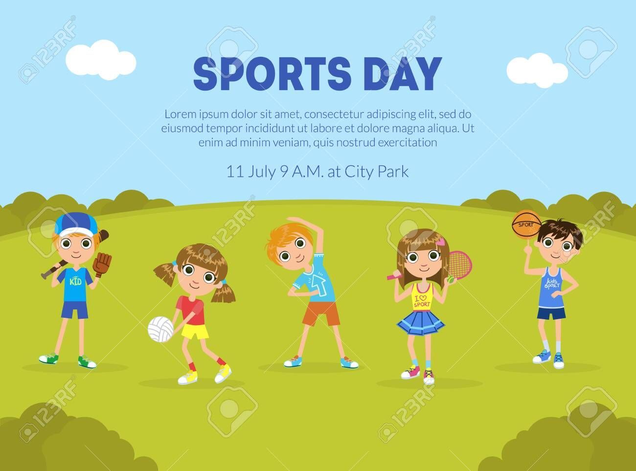 Sports Day Banner Template Sport Activity Outdoors Children