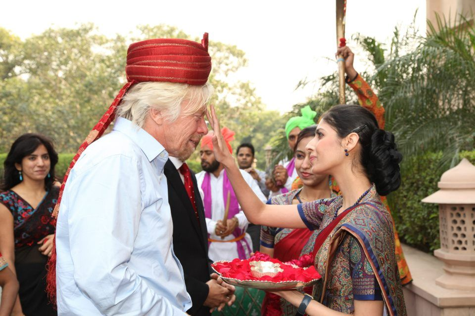 Richard Branson receiving a warm welcome, at the Taj Mahal Hotel, New Delhi.