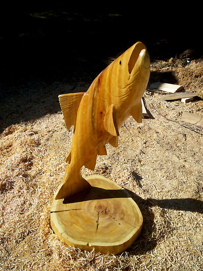 Chainsaw Carving | Trout Chainsaw Carving | Log!!! | Pinterest ... Kettensaegenkunst Holz Carving Motorsaege