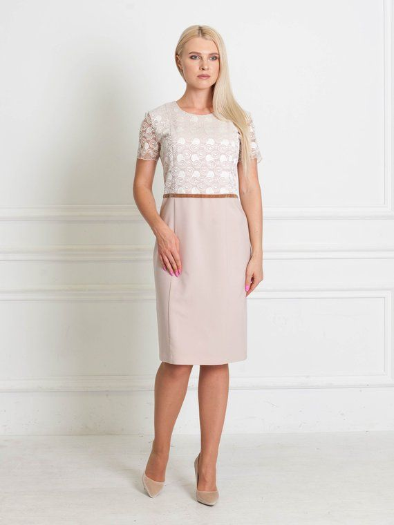Smart Pale Pink Fitted Dress Milk Color Guipure Dress Wedding Guest