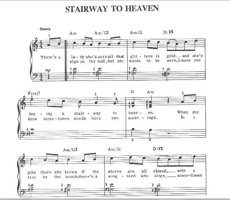 Sheet Music -- Stairway To Heaven, Led Zeppelin, 1971