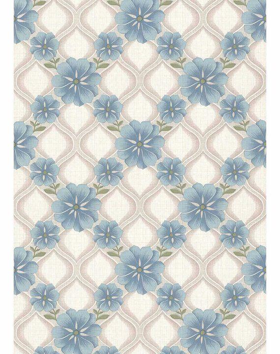 BLUE Geometric Scandinavian Floral MIDCENTURY MODERN