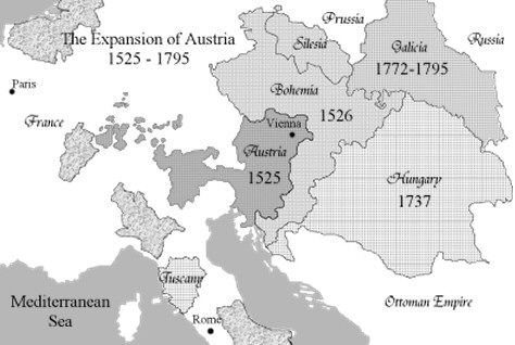 Map depicting the expansion of the austrian empire world war 1 map depicting the expansion of the austrian empire gumiabroncs Choice Image