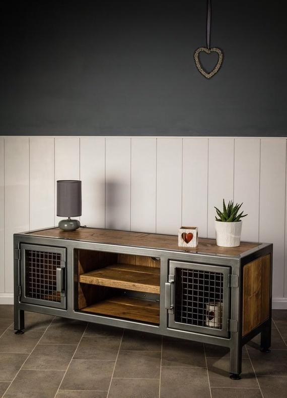 Handmade Reclaimed Wood & Steel TV Stand Vintage Rustic | Etsy