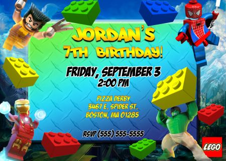 Lego Marvel Birthday Invitation Birthday Party Ideas Pinterest