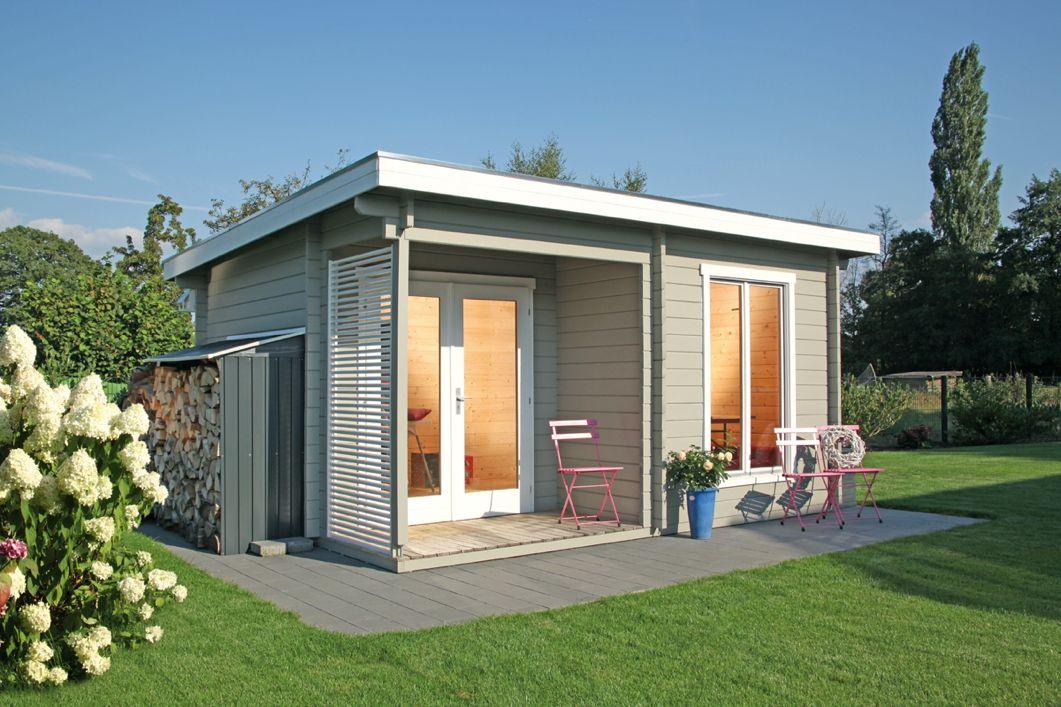 Gartenhaus Flachdach «450x330cm Holzhaus Bausatz 44mm