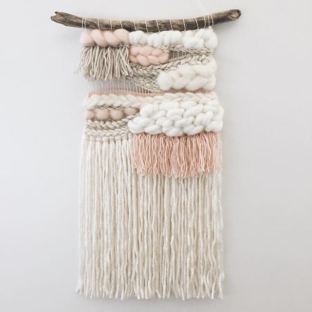 "Love this mini version of my most popular weaving! If you want a more affordable option that has the same look and feel as some of my larger pieces this one is perfect for you! 10"" wide by 20"" long (hung on a 14"" piece of driftwood), it is listed in the shop as a made to order item! $90 CAN (about $66 USD). It can also be made in any colors you want! Message me for details!"