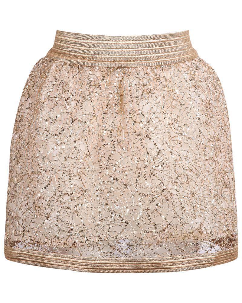 117ec17505 Falda encaje lentejuelas cremallera-dorado. Gold Zipper Sequined Lace Skirt  16.00