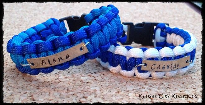 Personalized Paracord Bracelet With Stamped Name Plate
