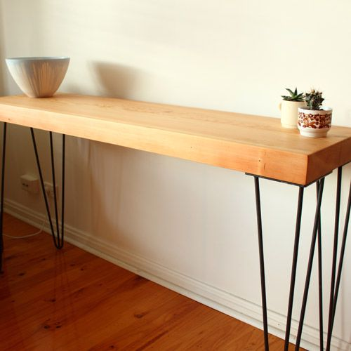 Recycled Timber Hallway Table With Hairpin Legs Hall Table Diy Table Diy Wood Countertops