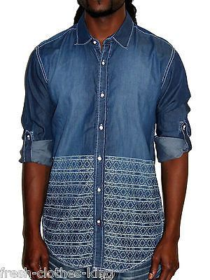 AMERICAN RAG Shirt New Mens Woven Blue Wash Button Up Choose Size