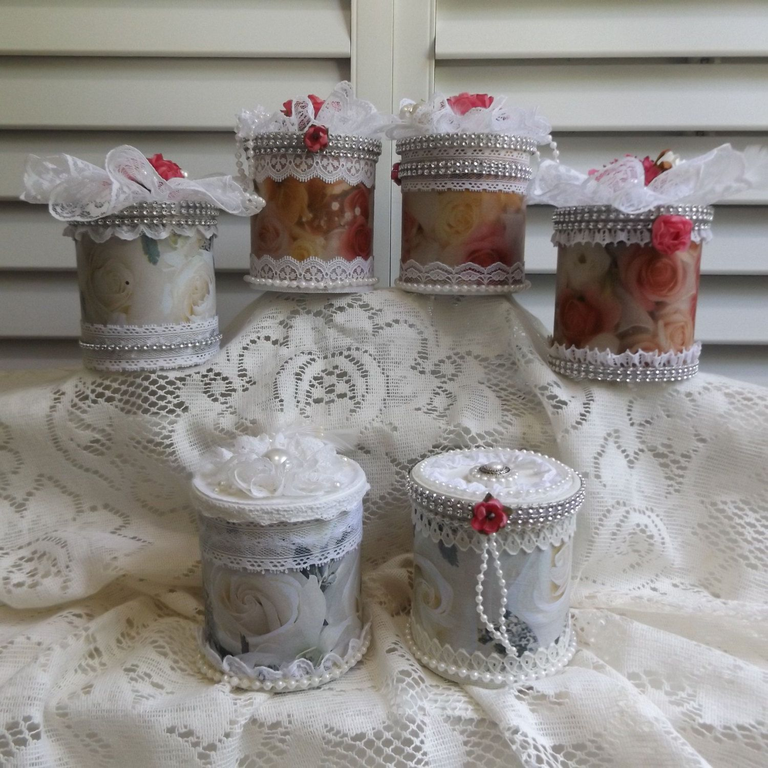 Upcycledrepurposed 6 Cans Wedding Centerpieces Favors Table D