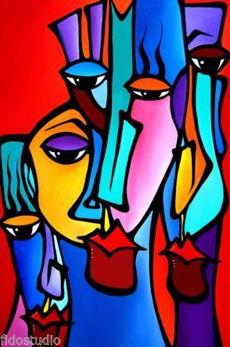 Crazy Loco Original Abstract Modern Big Colorful Faces Art Painting Fidostudio Original Abstract Art Painting Face Art Painting Abstract Art Painting