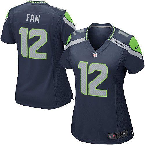 Buy Official Womens Nike Seattle Seahawks 12th Fan Game Steel Blue Team  Color NFL Jersey from Nike Seattle Seahawks Shop Online. 8f77735ce2